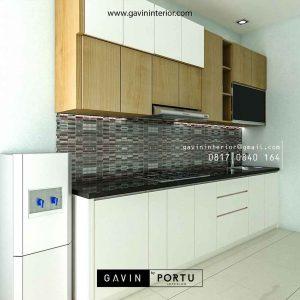 Kitchen set minimalis kombinasi finishing motif kayu & warna putih